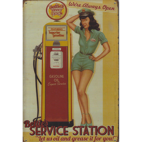 Bettie's Service Station Tin Sign-Mr Revhead