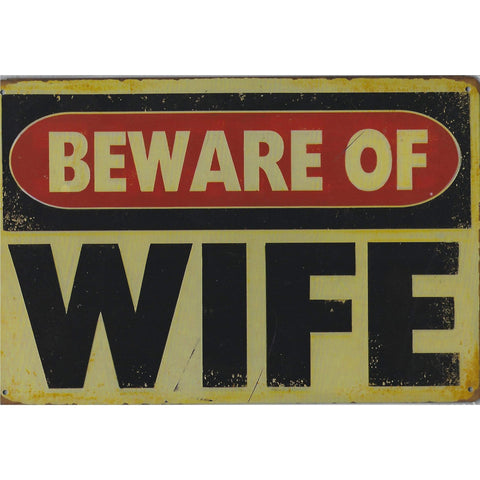 Beware of Wife Tin Sign-mightymoo