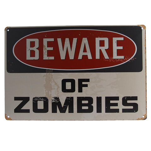 Beware Of Zombies Tin Sign-Mr Revhead