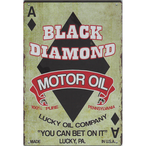 Black Diamond Motor Oil Tin Sign-Mr Revhead