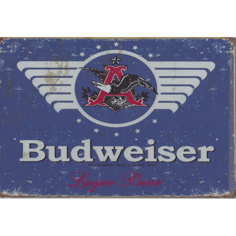 Budweiser Lager Beer Tin Sign-Mr Revhead