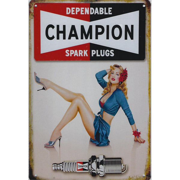 Champion Spark Plugs Models Tin Sign-Mr Revhead