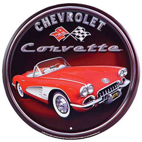 Chevolet 1958 Corvette Round Tin Sign-Mr Revhead