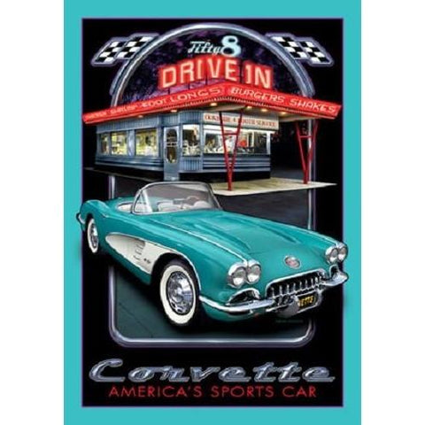 Chevrolet Corvette 1958 Sports Car Diner Tin Sign-Mr Revhead