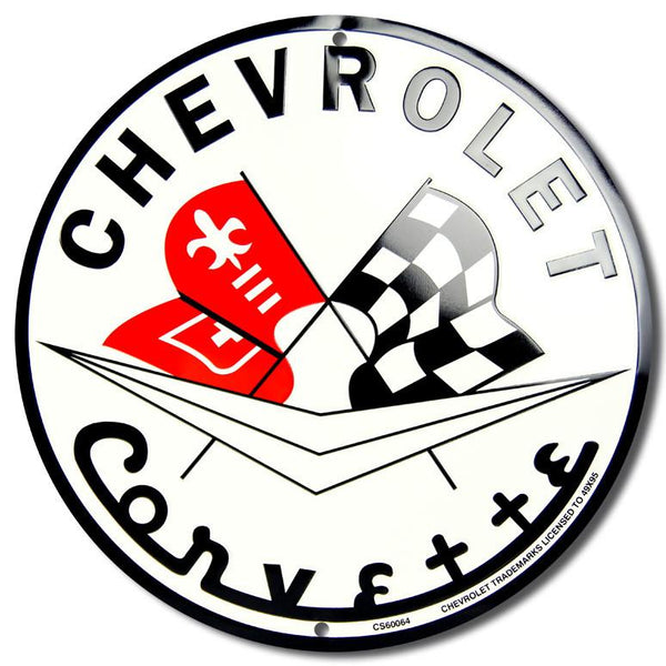Chevrolet Corvette Round Tin Sign-Mr Revhead