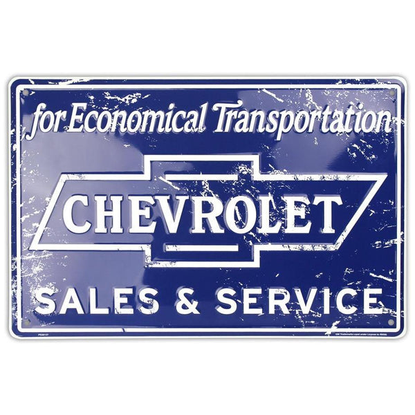 Chevrolet - Sales & Service Tin Sign-Mr Revhead