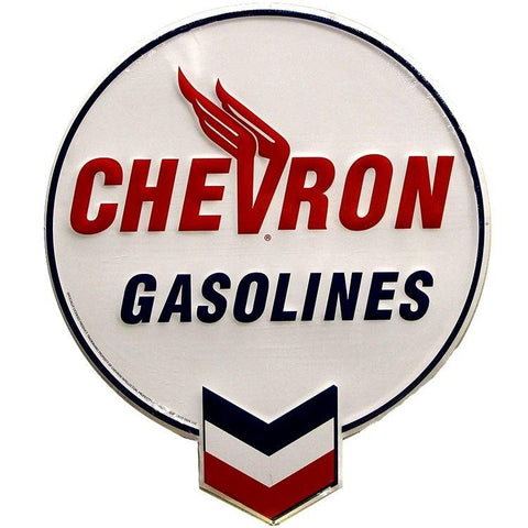 Chevron Gasoline's Vintage Tin Sign-Mr Revhead