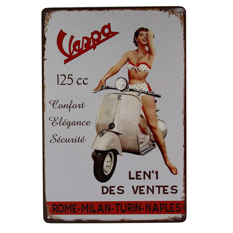Classic Italian Vespa Tin Sign-Mr Revhead