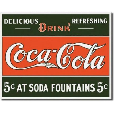 Coca Cola 5 cents at Fountain Tin Sign-Mr Revhead
