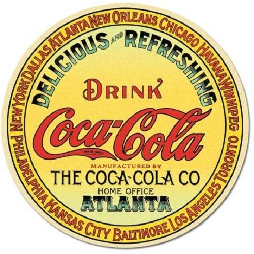 Coca Cola Coke Round Keg Label Tin Sign-Mr Revhead