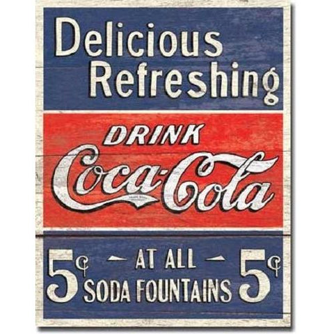 Coca Cola - Delicious 5 Cents Tin Sign-Mr Revhead