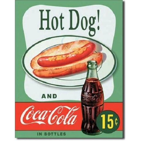 Coca Cola Hot Dog Tin Sign-Mr Revhead
