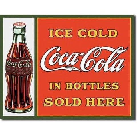 Coca Cola In Bottles Sold Here Tin Sign-Mr Revhead
