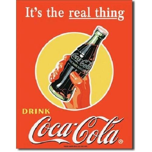 Coca Cola The Real Thing Bottle Tin Sign-Mr Revhead