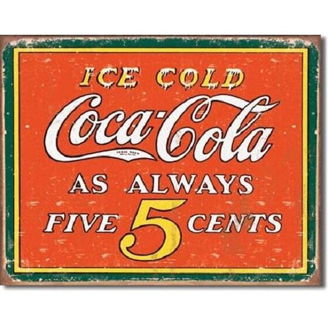COKE - Always 5 Cents Tin Sign-mightymoo