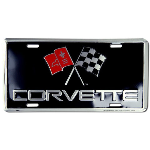 Corvette And The Crossed Flags License Plate-Mr Revhead