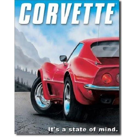 Corvette - State Of Mind Tin Sign-Mr Revhead