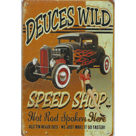 Deuces Wild Tin Sign-Mr Revhead