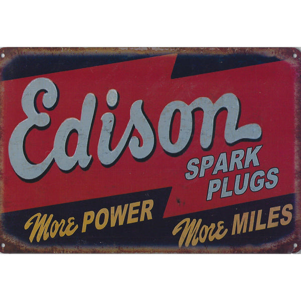 Edison Spark Plugs Tin Sign-Mr Revhead