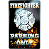 Firefighter Parking Only Embossed Tin Sign-Mr Revhead