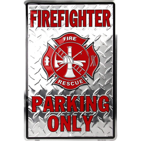 Firefighter Parking Only Embossed Tin Sign-mightymoo