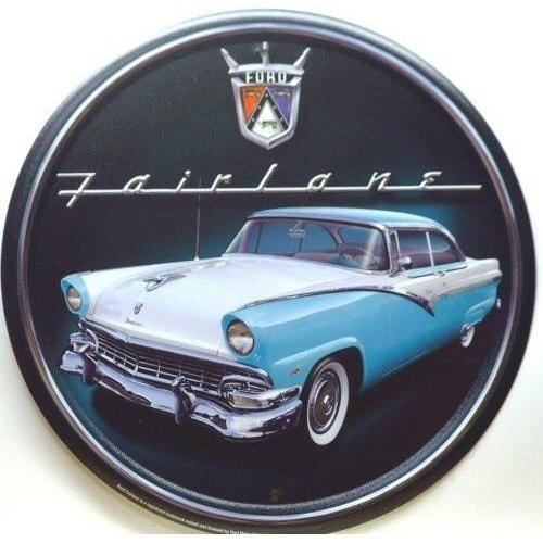 Ford Fairlane Retro Round Tin Sign-Mr Revhead