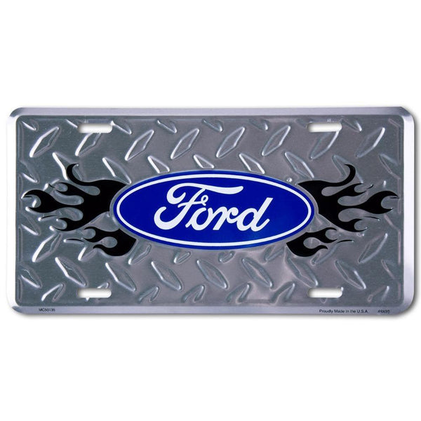 Ford Logo Flames License Plate-Mr Revhead