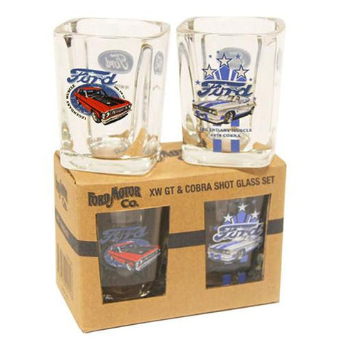 Ford Motoring Co XW GT & Cobra Shot Glasses-Mr Revhead