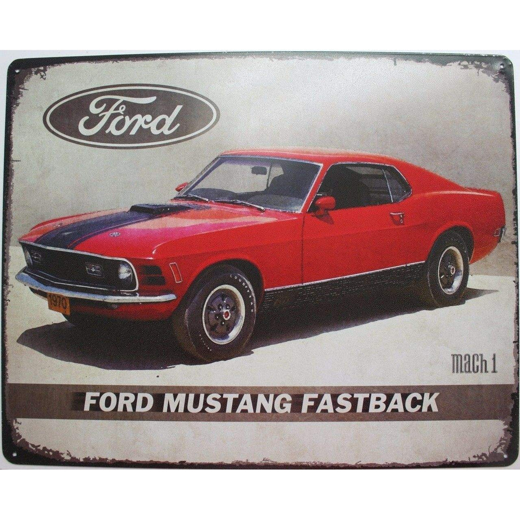 Mustang Tin Sign Ford Fastback Mach 1 Mighty Moo 1964 Mightymoo