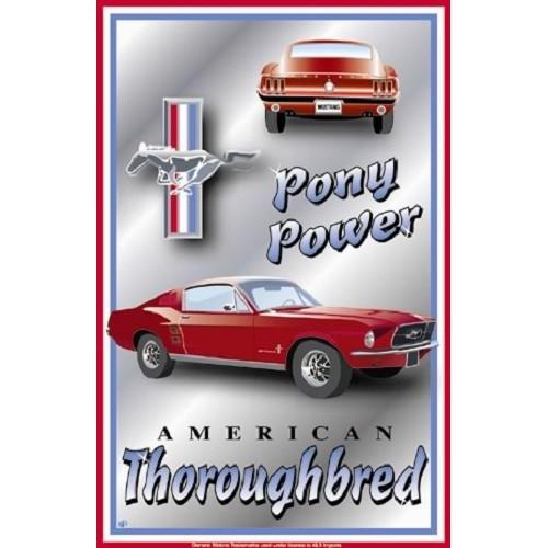 Ford Mustang Pony Power Tin Sign-Mr Revhead