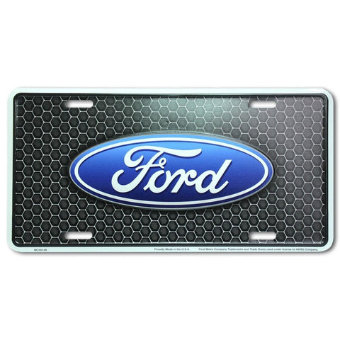 Ford Oval Logo On Honeycomb Metal License Plate-Mr Revhead