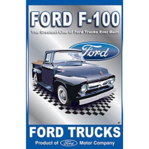 Ford Trucks F-100 Tin Sign-Mr Revhead