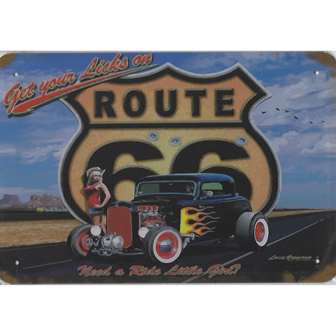 Get Your Licks Route 66 Tin Sign-Mr Revhead
