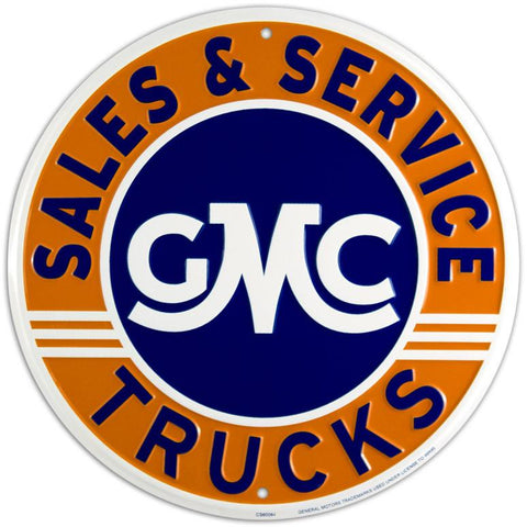 GMC Trucks Sales & Service Round Tin Sign-Mr Revhead