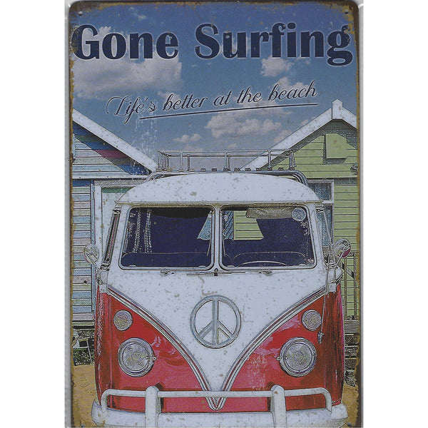 Gone Surfing - VW Combi Tin Sign-Mr Revhead