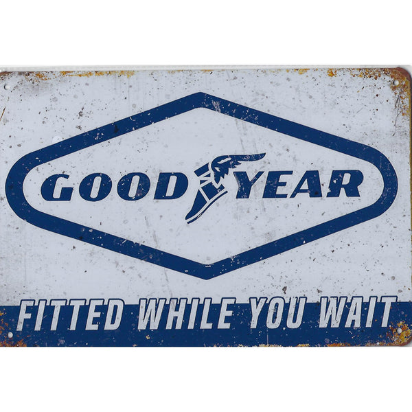 Goodyear Fitted While You Wait Tin Sign-Mr Revhead