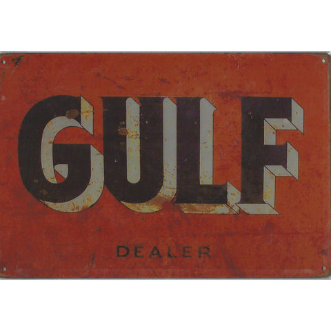 Gulf Oil Dealer Tin Sign-Mr Revhead