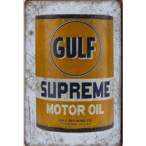 Gulf Supreme Motor Oil Tin Sign-Mr Revhead