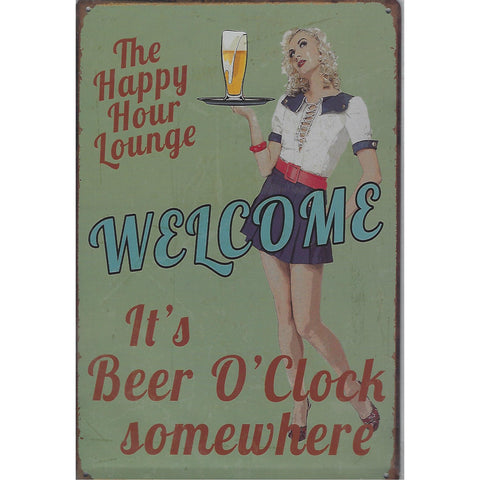 Happy Hour Tin Sign-Mr Revhead