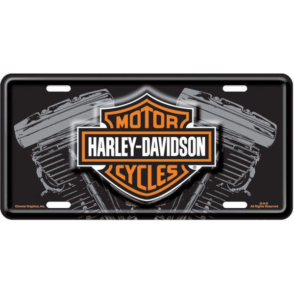 Harley Davidson Black Front V-Twin License Plate-Mr Revhead
