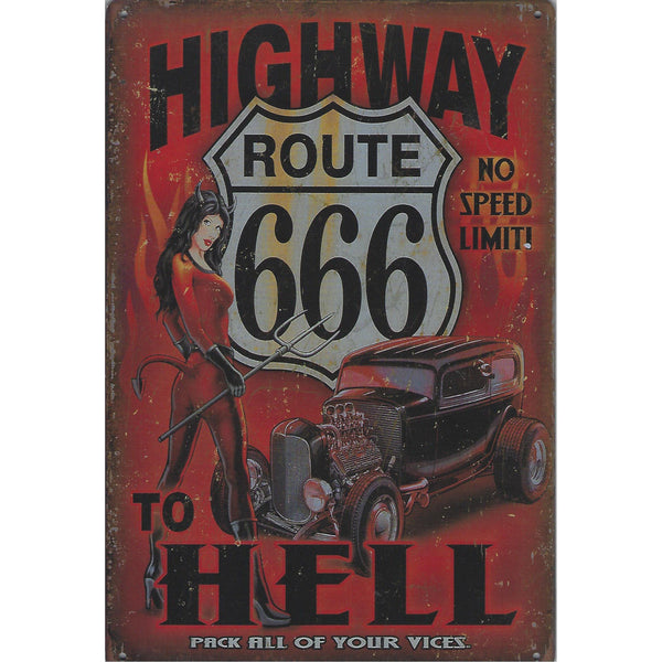 Highway To Hell Tin Sign-Mr Revhead