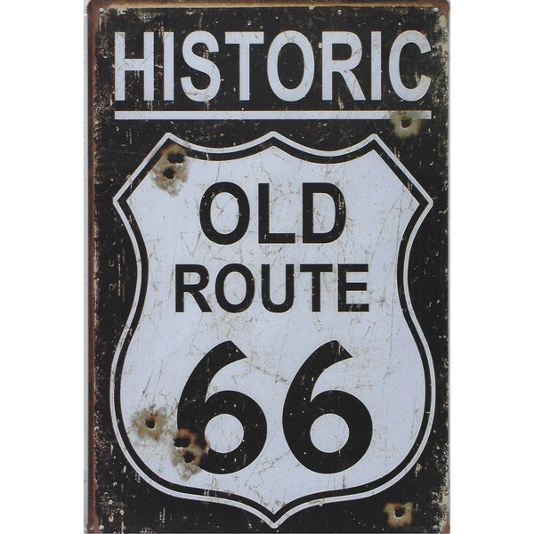 Historic Old Route 66 Bullet Holes Tin Sign-Mr Revhead
