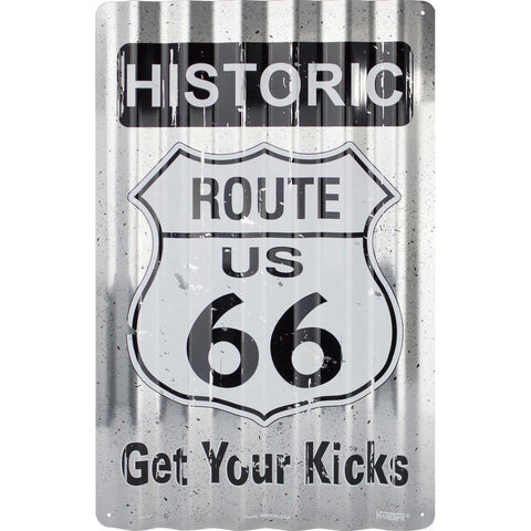 Historic Route 66 Corrugated Tin Sign-Mr Revhead