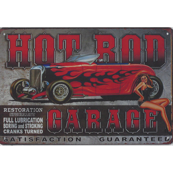 Hot Rod Garage Tin Sign-Mr Revhead
