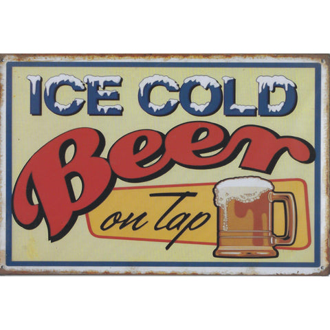 Ice Cold Beer On Tap Tin Sign-Mr Revhead