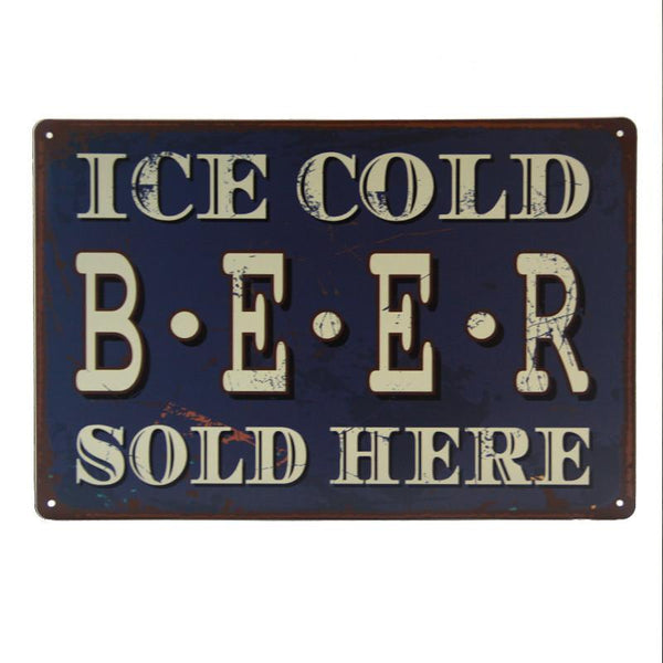 Ice Cold Beer Sold Here Tin Sign-Mr Revhead