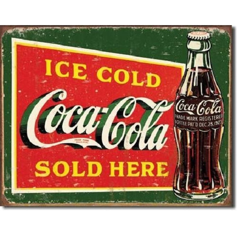 Ice Cold Coca Cola Sold Here Tin Sign-mightymoo