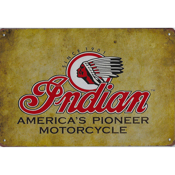 Indian America's Pioneer Motorcycle Tin Sign-Mr Revhead