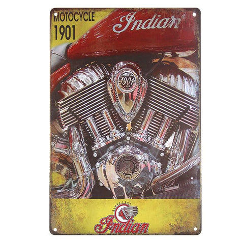 Indian Motorcycle 1901 Tin Sign-Mr Revhead