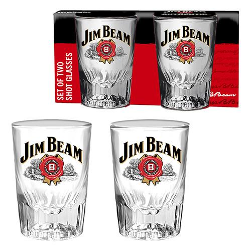 Jim Beam Set Of 2 Logo Shot Glasses-Mr Revhead